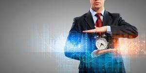 Image of businessman holding alarmclock against illustration background