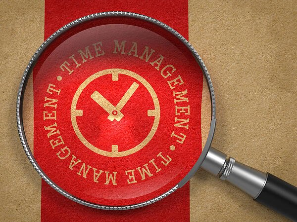 Magnifying Glass with Time Management Written Arround Icon of Clock Face on Old Paper with Red Vertical Line Background. Business Concept.